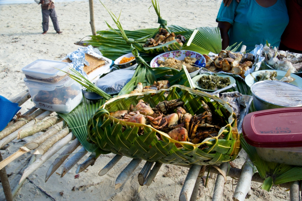 Cooked crabs served in a basket.