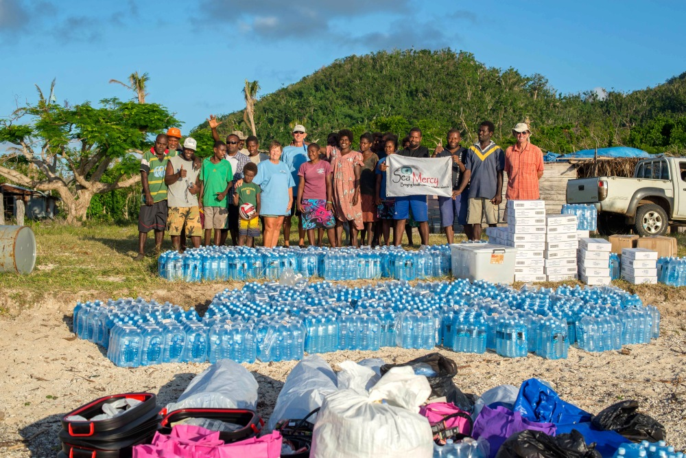 Bottled water, tinned fish, clothing and miscellany for the villages of Emae.