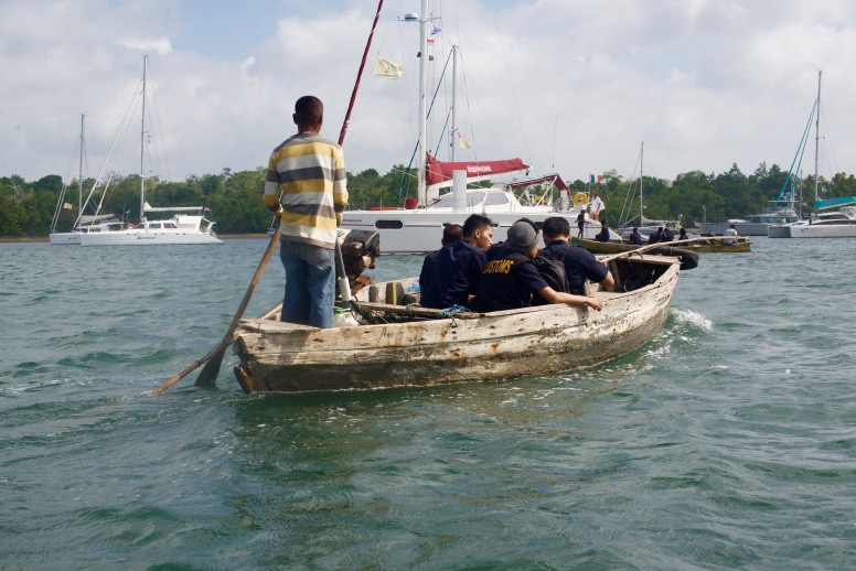 Customs officials visiting the newly arrived yachts.